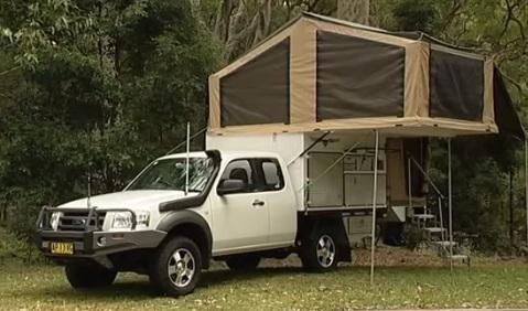 rozkładany wóz jako camping