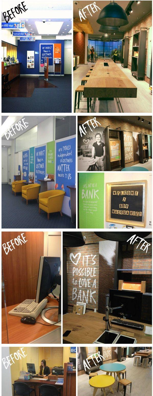 bank z wnętrzem jak w domu - wygląd przed i po zmianach na lokal jak w restauracji
