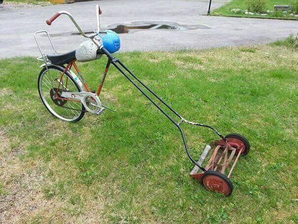 reczna kosiarka z miksowana z rowerem