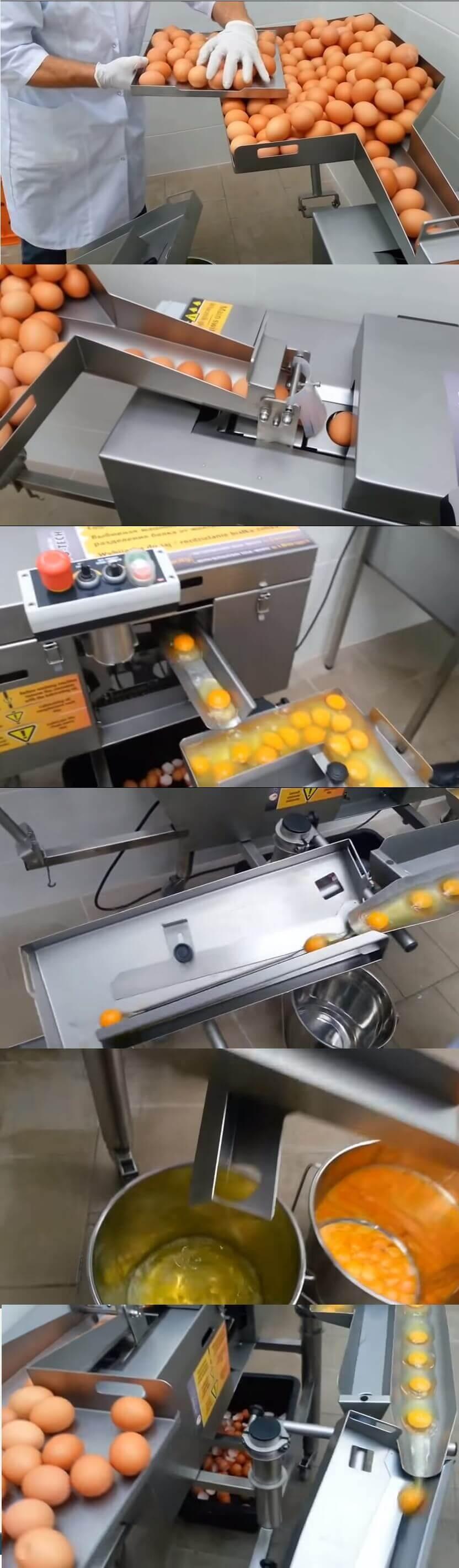 maszyna do oddzielania zoltka od bialka z jajek i skorupki do osobnego pojemnika